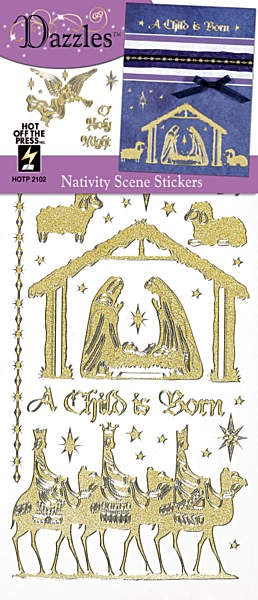 Hot off the Press-Dazzles Stickers-Nativity Scene Gold Pearl