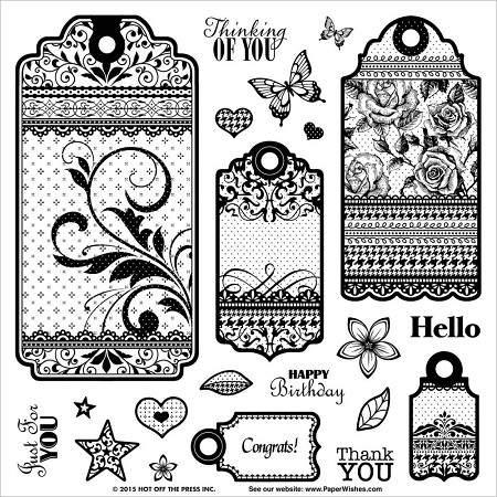"Hot Off The Press - Clear Stamps - Tags & Trims (8""x8"" set)"