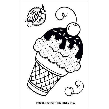 "Hot Off The Press - Clear Stamps - Small Ice Cream Cone (2""x3"" set)"
