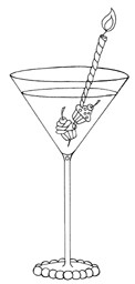 Impression Obsession Cling Mounted Rubber Stamp - Birthday Martini
