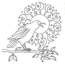 Impression Obsession Cling Mounted Rubber Stamp - Crow & Moon