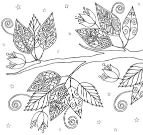Impression Obsession Cling Mounted Rubber Stamp - Owl Leaves