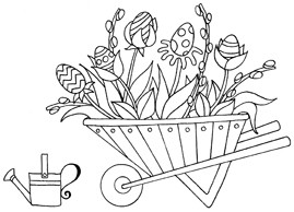 Impression Obsession Cling Mounted Rubber Stamp - Wheelbarrow