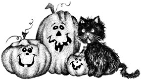 Impression Obsession Cling Mounted Rubber Stamp - Pumpkin Kitty