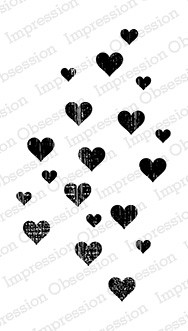 Impression Obsession - Cling Mounted Rubber Stamp - By Dina Kowal - Grunge Heart Background