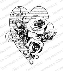 Impression Obsession - Cling Mounted Rubber Stamp - By Dina Kowal - Rose Love Collage