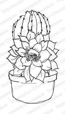Impression Obsession - Cling Mounted Rubber Stamp - By Dina Kowal - Potted Cactus