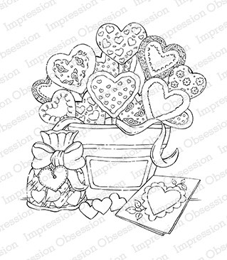 Impression Obsession - Cling Mounted Rubber Stamp - By Tara Caldwell - Heart Cookie Arrangement