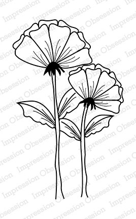 Impression Obsession - Cling Mounted Rubber Stamp - By Yvonne Blair - Poppies Alone