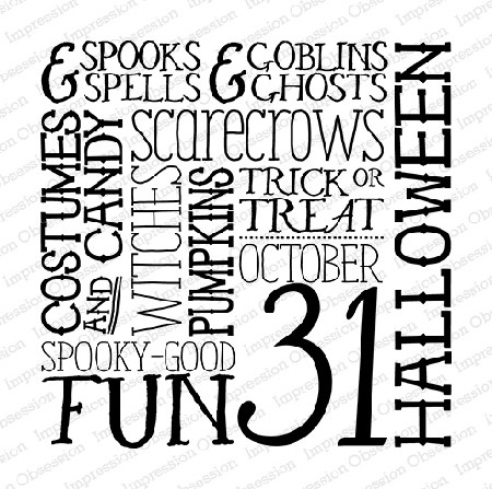 Impression Obsession - Cling Mounted Rubber Stamp - Cover A Card - Halloween Words