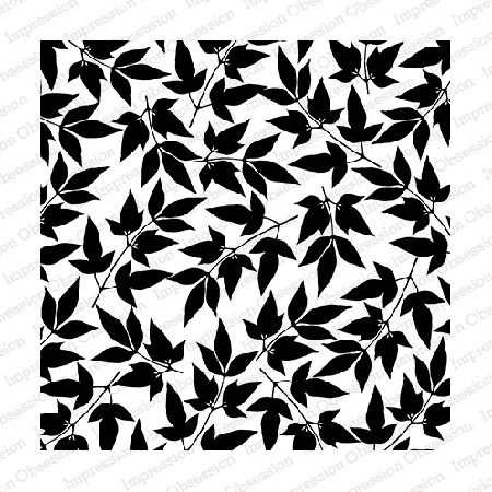 Impression Obsession - Cover A Card Fancy Leaves Cling Mounted Rubber Stamp