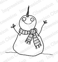 Impression Obsession - Cling Mounted Rubber Stamp - By Lindsay Ostrom - Chin Up Snowman
