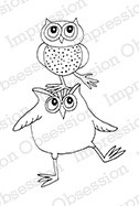 Impression Obsession - Cling Mounted Rubber Stamp - By Gail Green - Owl on Head