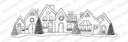Impression Obsession - Cling Mounted Rubber Stamp - By Tara Caldwell - Holiday Row Houses