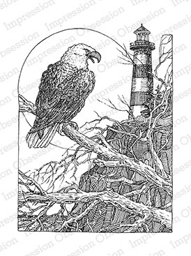 Impression Obsession - Cling Mounted Rubber Stamp - By Gary Robertson - Eagle Lighthouse