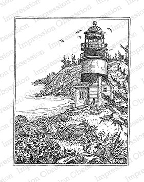 Impression Obsession - Cling Mounted Rubber Stamp - By Gary Robertson - Lighthouse with Flowers