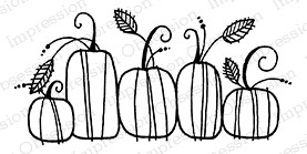 Impression Obsession - Cling Mounted Rubber Stamp - By Lindsay Ostrom - Pumpkin Line