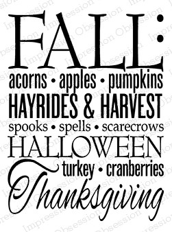 Impression Obsession - Cling Mounted Rubber Stamp - By Kalani Allread - Fall Words