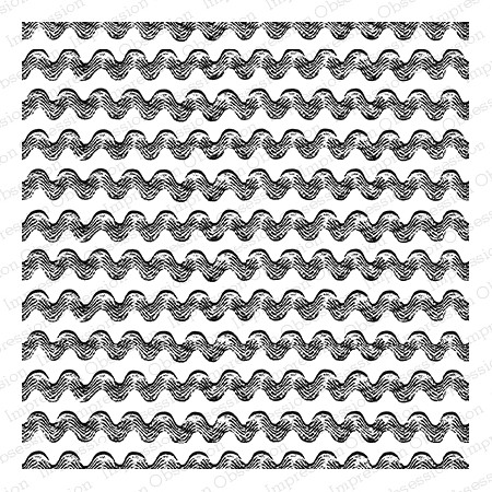 Impression Obsession - Cling Mounted Rubber Stamp - Cover A Card - Wavy Ripples