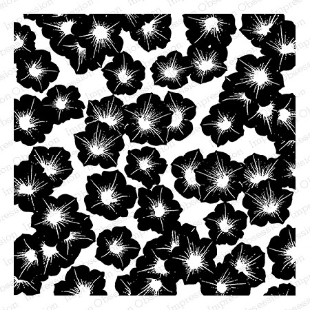 Impression Obsession - Cling Mounted Rubber Stamp - Cover A Card - Solid Petunias