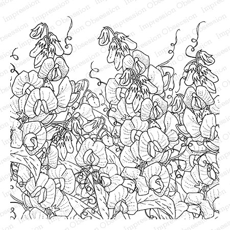 Impression Obsession - Cling Mounted Rubber Stamp - Cover A Card - Sweet Peas