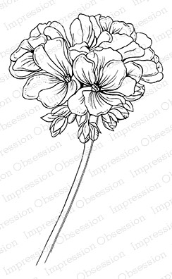 Impression Obsession - Cling Mounted Rubber Stamp - By Tara Caldwell - Geranium Bloom
