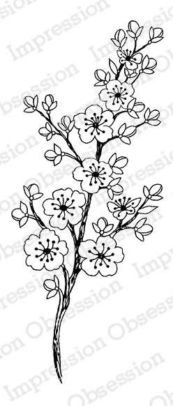 Impression Obsession - Cling Mounted Rubber Stamp - By Tara Caldwell - Cherry Blossom Stemp