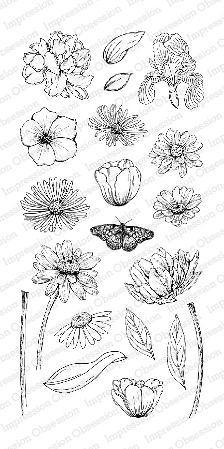 Impression Obsession - Clear Stamps - By Tara Caldwell - Sketched Spring Blooms