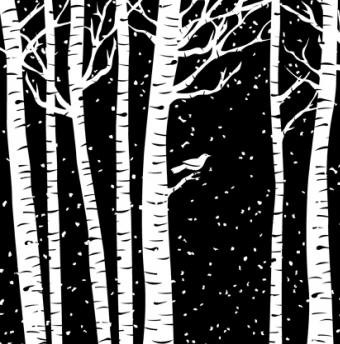 Impression Obsession - Cover A Card - Birch Trees Cling Mounted Rubber Stamp