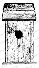Impression Obsession - Cling Mounted Rubber Stamp - By Alesa Baker - Tall Worn Wood Birdhouse