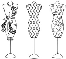 Impression Obsession Cling Mounted Rubber Stamp - Mannequins