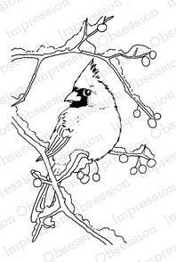 Impression Obsession - Cling Mounted Rubber Stamp - By Gail Green - Snowy Branch Cardinal
