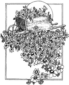 Impression Obsession Cling Mounted Rubber Stamp - Wheelbarrow with Flowers
