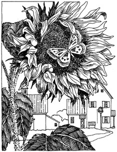 Impression Obsession Cling Mounted Rubber Stamp - Sunflower with Butterfly