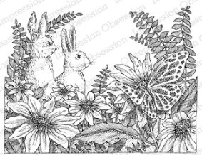 Impression Obsession Cling Mounted Rubber Stamp - Two Bunnies by Gary Robertson