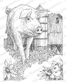 impression obsession cling mounted rubber stamp by gary robertson pig