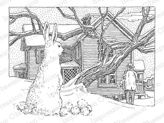 Impression Obsession - Cling Mounted Rubber Stamp - By Gary Robertson - Snow Bunny