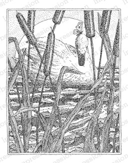 Impression Obsession - Cling Mounted Rubber Stamp - By Gary Robertson - Swan in Cattails