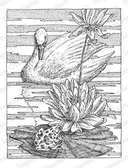 Impression Obsession - Cling Mounted Rubber Stamp - By Gary Robertson - Swan with Lilypad