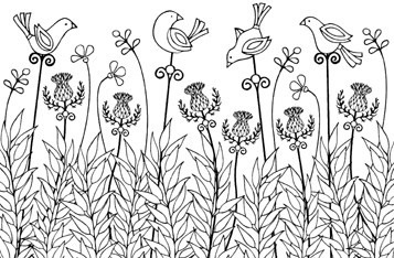 Impression Obsession Cling Mounted Rubber Stamp - Thistle Garden