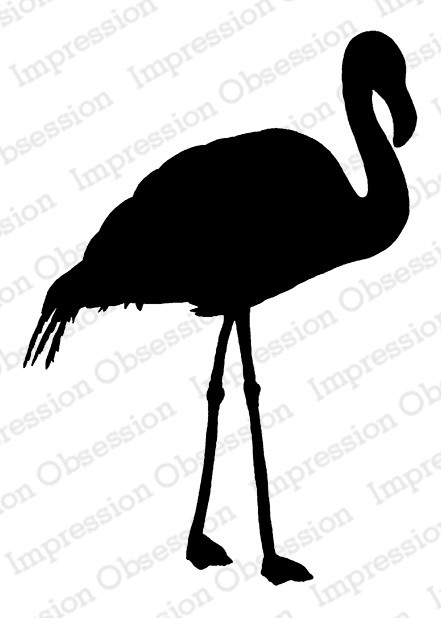 Impression Obsession - Cling Mounted Rubber Stamp - By Tara Caldwell - Flamingo Silhouette