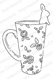 Impression Obsession - Cling Mounted Rubber Stamp - By Alesa Baker - Bunny Mug