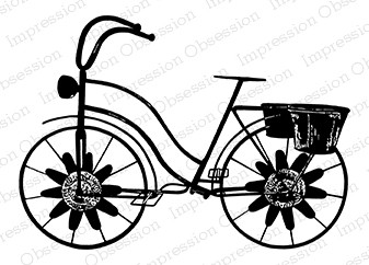 Impression Obsession - Cling Mounted Rubber Stamp - By Alesa Baker - Vintage Flower Bike