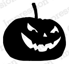 Impression Obsession - Cling Mounted Rubber Stamp - By Gail Green - Scary Pumpkin 2