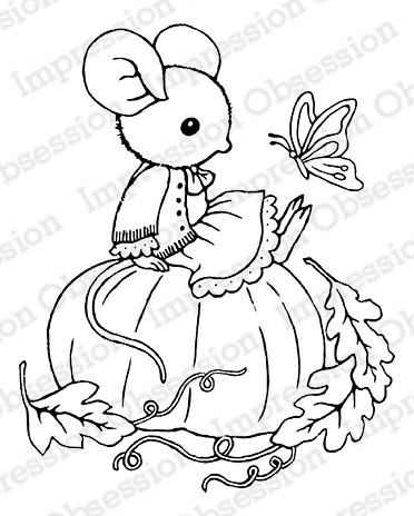 Impression Obsession - Cling Mounted Rubber Stamp - By Carmen Medlin - Pumpkin Mouse