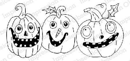 Impression Obsession - Cling Mounted Rubber Stamp - By Gail Green - Happy Pumpkins