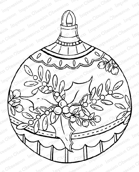 Impression Obsession - Cling Mounted Rubber Stamp By Tara Caldwell - Holly Ball Ornament