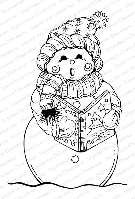Impression Obsession - Cling Mounted Rubber Stamp By Tara Caldwell - Singing Snow Woman