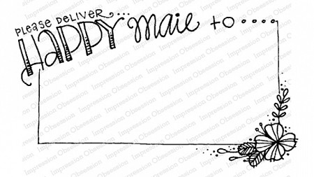 Impression Obsession - Happy Mail Frame Cling Mounted Rubber Stamp By Lindsay Ostrom