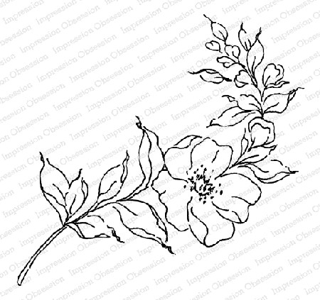 Impression Obsession - Wild Rose Stem Cling Mounted Rubber Stamp By Alesa Baker